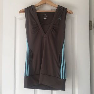 Adidas v neck hooded tank top - size S